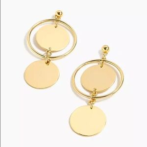 J.Crew Retail Double-Disc Drop Earrings, Gold, NWT